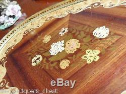 Vintage Italian Wood Inlay Serving Tray Brass Floral Flower 2 handles