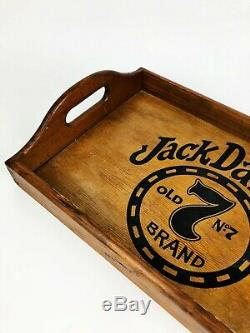Vintage Jack Daniel's Old No. 7 Whiskey Wooden Serving Tray Sign Barware Mancave