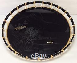 Vintage LIDAS JAPANESE Black Lacquer Mother of Pearl Round Serving Tray 1960's