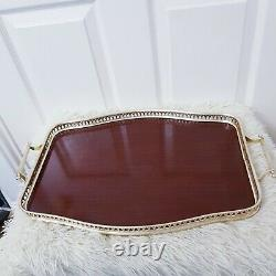 Vintage Large Oval Wooden Serving Tray Inlaid Marquetry With Handles Tea Tray