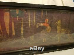 Vintage Little Red Riding Hood Black Wood & Glass Bottom Serving Tray 30 Long