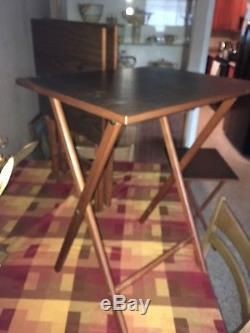 Vintage MCM Scheibe Wood TV Trays withStand Serving 4 Tables Set Mid Century