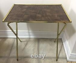 Vintage MCM TV Trays Set of 4 Faux Wood Grain withRolling Stand