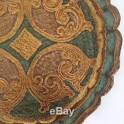 Vintage MID Century Florentine Toleware Gold Leaf Round Scalloped Serving Tray