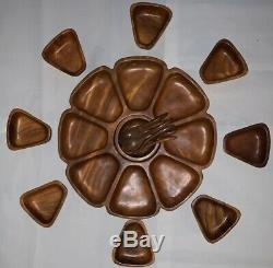 Vintage MONKEY POD WOODS OF HAWAII Lazy Susan Serving Tray Bowls Spoons RARE