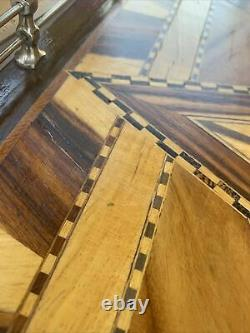 Vintage Magnificent Wood Inlay Serving Tray Stars Ornate