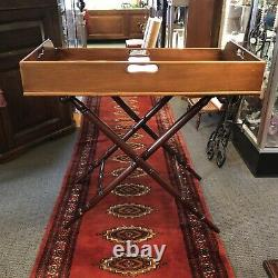 Vintage Mahogany Wood Butlers Serving Tray and Stand