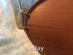 Vintage Manning, Bowman & Co. Wood Mahogany Oval Serving Tray Genie Lamp Rare