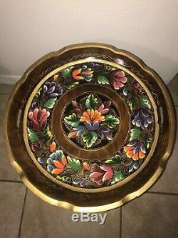 Vintage Mexican Batea Serving Tray on Folding Wood Stand Table Folk Art Floral