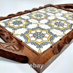 Vintage Mexican Hand Carved Wood Ceramic Tile Serving Tray Blue Yellow Folk Art
