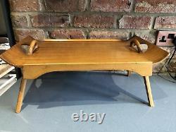 Vintage Mid Century Breakfast Tray Butler Tray Folding Legs Beech Serving Vgc