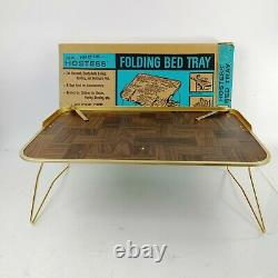 Vintage Mid Century Hostess Folding Bed Tray Faux Parquet Wood Metal 22x14