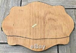 Vintage Mid Century Marquetry Inlaid Wood Cocktail Serving Tray Handles Italy