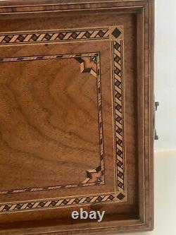 Vintage Mid Century Marquetry Inlaid Wood Serving Tray Brass Handles
