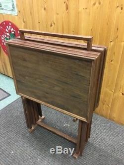 Vintage Mid Century Modern Folding Table Set Serving TV Trays Antique Wood