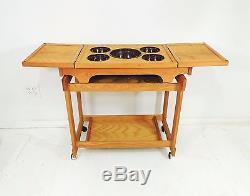 Vintage Mid Century Modern Wood Serving Tray Cart