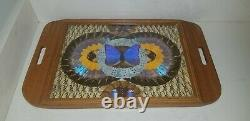 Vintage Morpho Butterfly Wing Wood Serving Tray