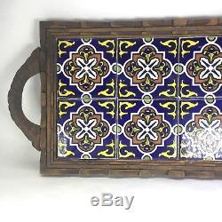 Vintage ORION Monterrey Mexico 8 Tile Trivet Serving Tray Carved Wood Frame