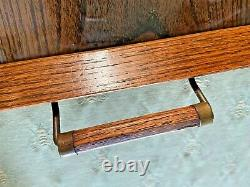 Vintage Oak Wooden Butler Serving Tray Antique Inlaid Wood 11 by 18 Inches