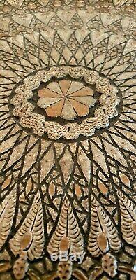 Vintage Old Middle Eastern Serving Tray Top Wood Copper Table Round Wood Base