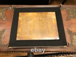 Vintage Old Stock Wooden and Glass Serving Tray
