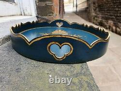 Vintage Oval Lacquered Dark Turquoise Gold Gilt Regency Style Serving Tea Tray