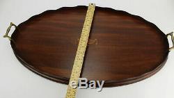 Vintage Oval Large Wood Serving Tray Lantern Design Brass Handles
