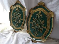Vintage Pair Italian Restaurant Rococo Gold Leaf Hotel Cafe Drinks Serving Trays