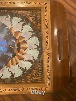 Vintage Rio de Janeiro, Brazil Iridescent Butterfly Wing Art Serving Tray Inlay