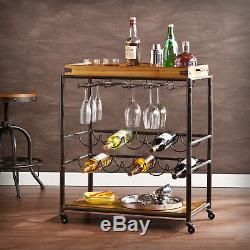 Vintage Rolling Wood Iron Metal Beverage Bar Serving Cart Drink Tray Wine Cart