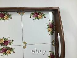 Vintage Royal Albert Old Country Roses Wood & Tile Serving Tray