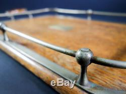 Vintage Scarce Art Deco Serving Tray with Brass & Wood Handles