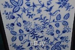Vintage Serving Tray Blue White Onion Porcelain Wood Handle Flower