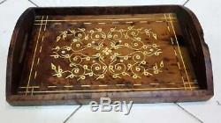 Vintage Serving Tray Of Thuya Wood Handmade Thuya Burl Wood Moroccan Platter