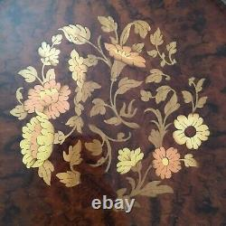 Vintage Serving Tray Sorrento Italy Marquetry Wood & Brass Round Gallery MCM