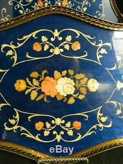Vintage Set Of (2) Italian Inlaid Brass & Blue Marquetry Wood Serving Trays Exc