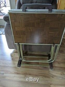 Vintage Set Of 4 Faux Wood Grain Metal TV Trays With Legs & Stand