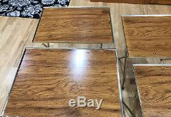 Vintage Set Of 4 Faux Wood Grain TV Trays With Stand, MCM with box