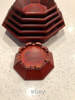 Vintage Set of Six (6) Octagon Wooden Ornate Nesting Serving Platter Trays