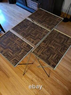 Vintage TV Trays Faux Wood Metal Stand Danish Mid Century Modern Set Of 4 EUC