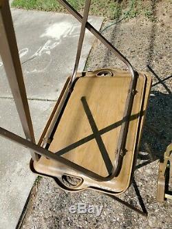 Vintage TV Trays Faux Wood plastic Stand Danish Mid Century Modern Set Of 4