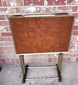 Vintage TV Trays Set Of 3 Faux Wood Grain MCM WITH STAND