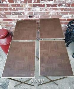 Vintage TV Trays Set Of 4 Faux Wood Grain MCM WITH STAND