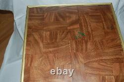 Vintage TV Trays Set Of 4 Faux Wood Grain MCM with Stand Brass Colored Legs