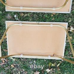 Vintage TV Trays Set of 4 With Stand Faux Parquet Wood Block Pattern Mid Century