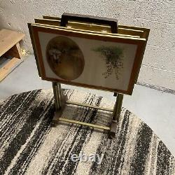 Vintage TV Trays Set of 4 with Rolling Stand Faux Metal Wood Mid Century Modern