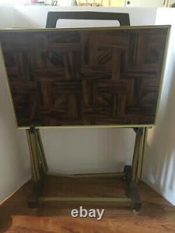 Vintage TV Trays With Stand Set of 4 Faux Parquet Wood Block Pattern MCM EUC