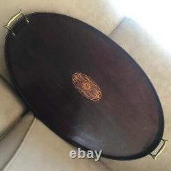 Vintage Tray E. F. S. Maker Two Brass Handles Veneer Bar Oval Serving Platter Wood