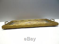 Vintage Used Old Butterfly Floral Glass Wood Kitchen Breakfast Tea Serving Tray
