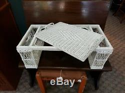 Vintage White Wicker/Rattan Bed Serving Tray with 2 Side Baskets &Removable Tray